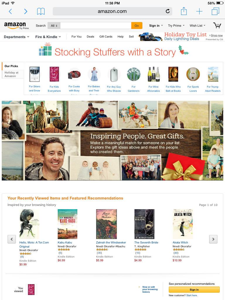 Stocking Stuffers with a Story Amazon feature
