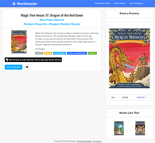 Magic Tree House 37: Dragon of the Red Dawn book detail page on Worldreader Book Tool