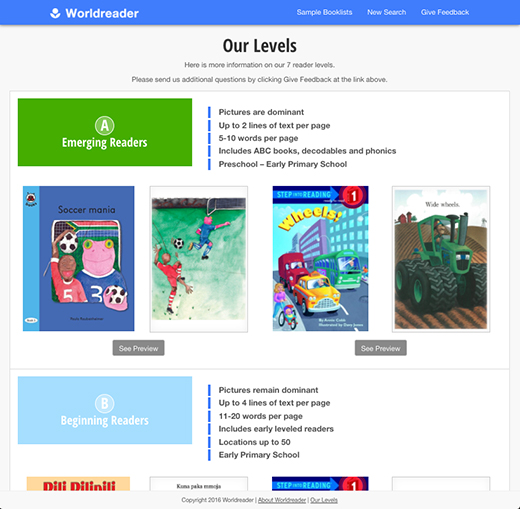 Worldreader Book Tool - Levels page