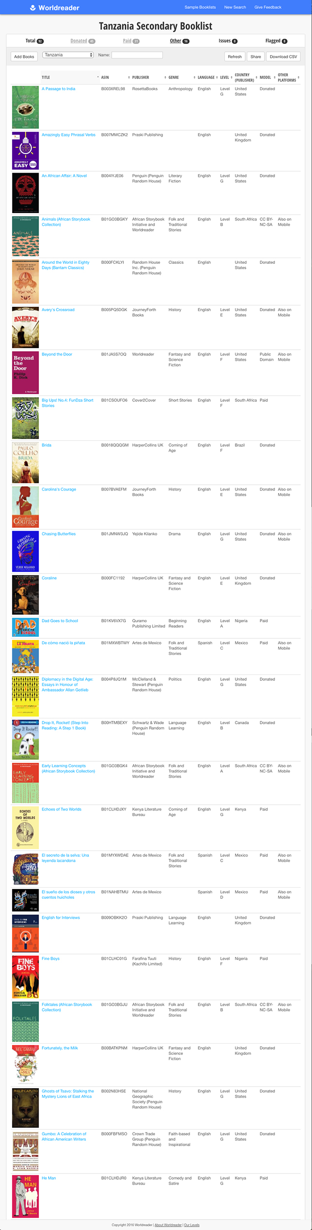 Worldreader Book Tool custom booklist