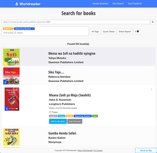 Worldreader Book Tool search catalog by tag