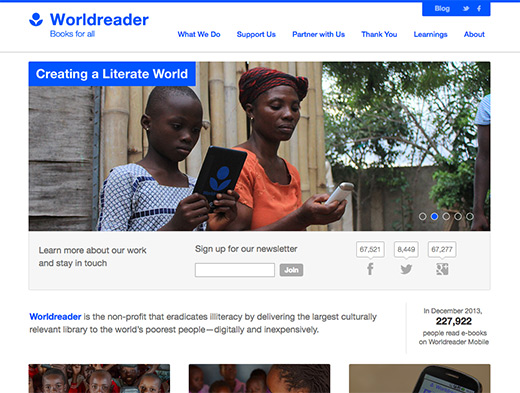 Worldreader website homepage in 2014, before redesign