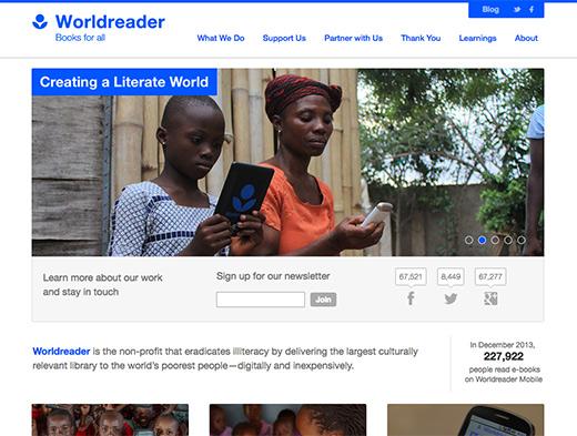 Worldreader website homepage in 2014, before redesign