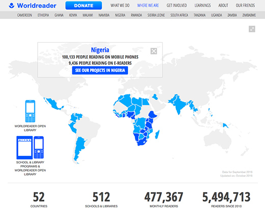 Worldreader website impact map