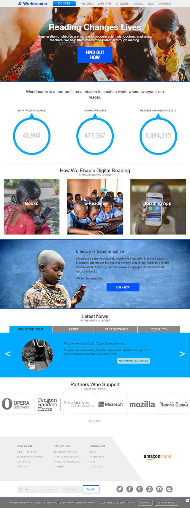Worldreader website homepage in 2017